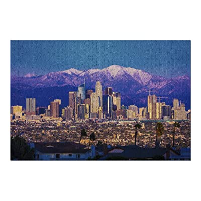 Los Angeles, California - Skyline Framed by San Bernadino Mountains & Mount Baldy with Fresh Snow 9026097 (Premium 1000 Piece Jigsaw Puzzle for Adults, 20x30, Made in USA!): Toys & Games