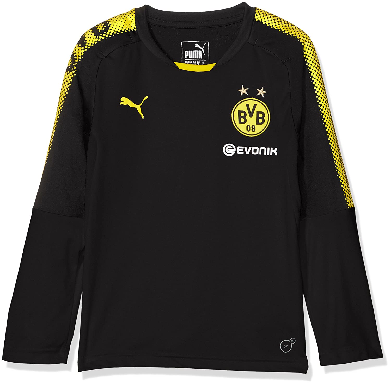Puma Kinder BVB Ls Training Jersey with Sponsor Logo T-Shirt