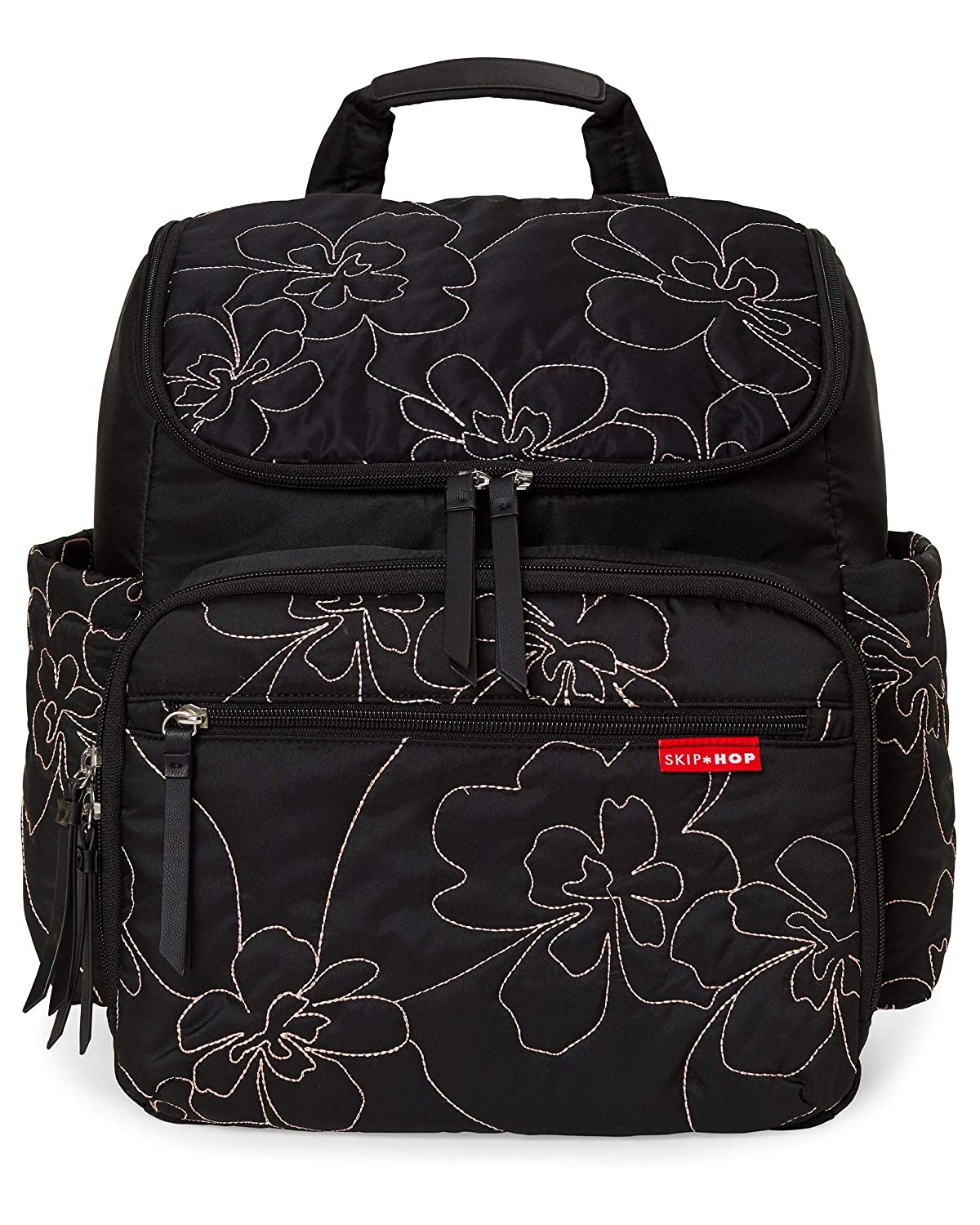 Skip Hop Diaper Bag Backpack: Forma, Multi-Function Baby Travel Bag with Changing Pad & Stroller Attachment, Black Floral