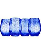 Artland Iris Stemless Glasses, Cobalt, Set of 4