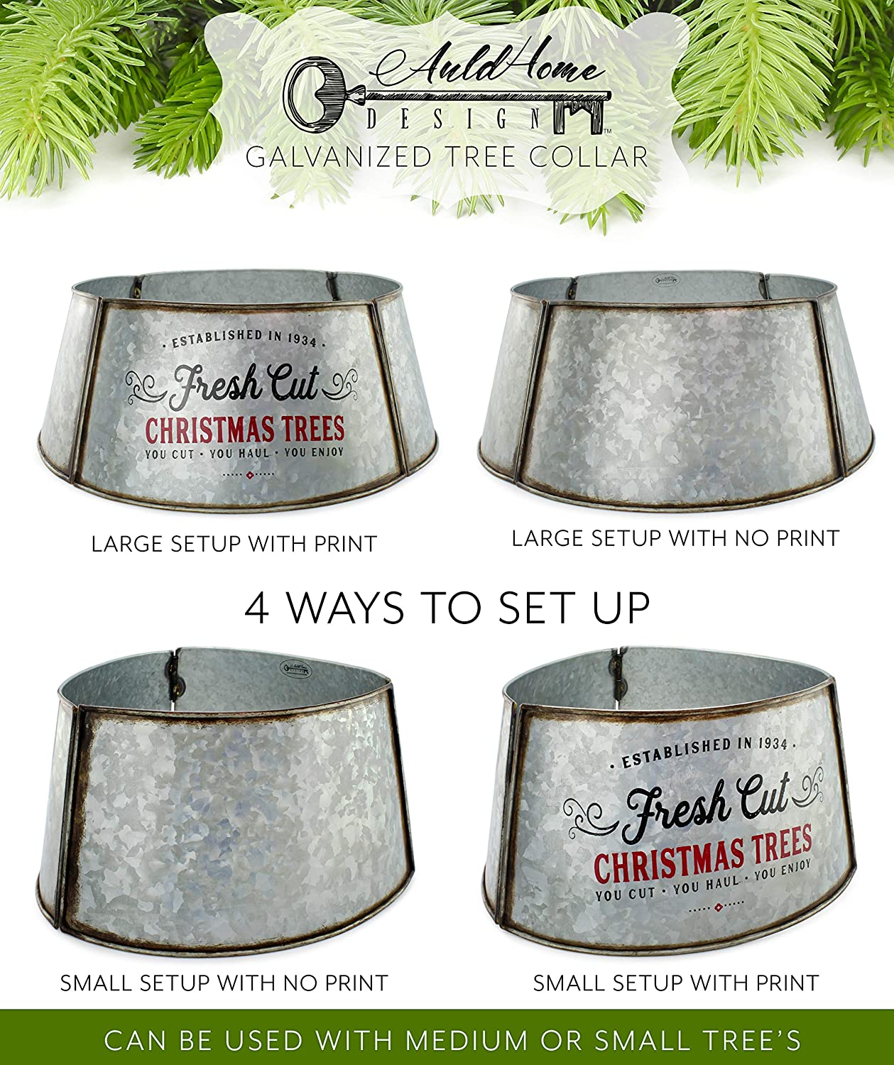 ; Small Size for Short Trees and Pencil Trees AuldHome Galvanized Metal Christmas Tree Collar 23-Inch Diameter Base