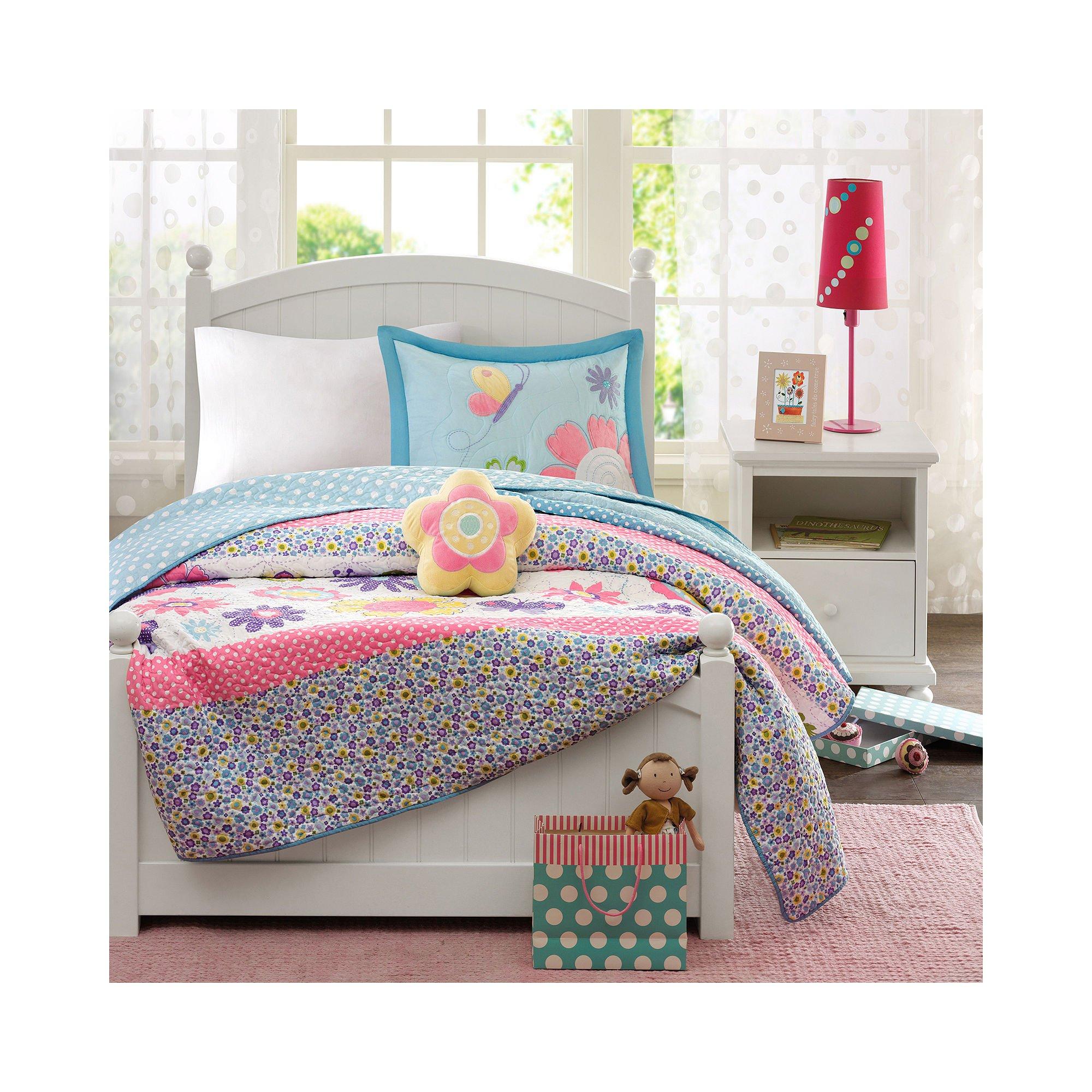 Mi-Zone Kids Crazy Daisy Full/Queen Bedding for Girls Quilt Set - Sky Blue, Pink, Flowers, Butterfly – 4 Piece Kids Girls Quilts – Ultra Soft Microfiber Quilt Sets Coverlet