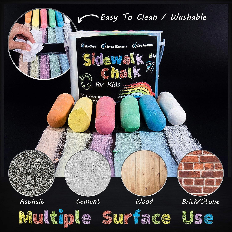 Kid Friendly with Large Stencils Non-Toxic Veledryn Sidewalk Chalk Bucket Jumbo