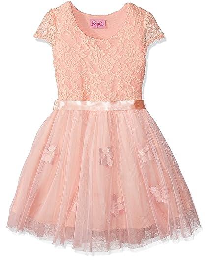 Barbie 16608 Vestido Para Niñas Color Salmón Combinado 12