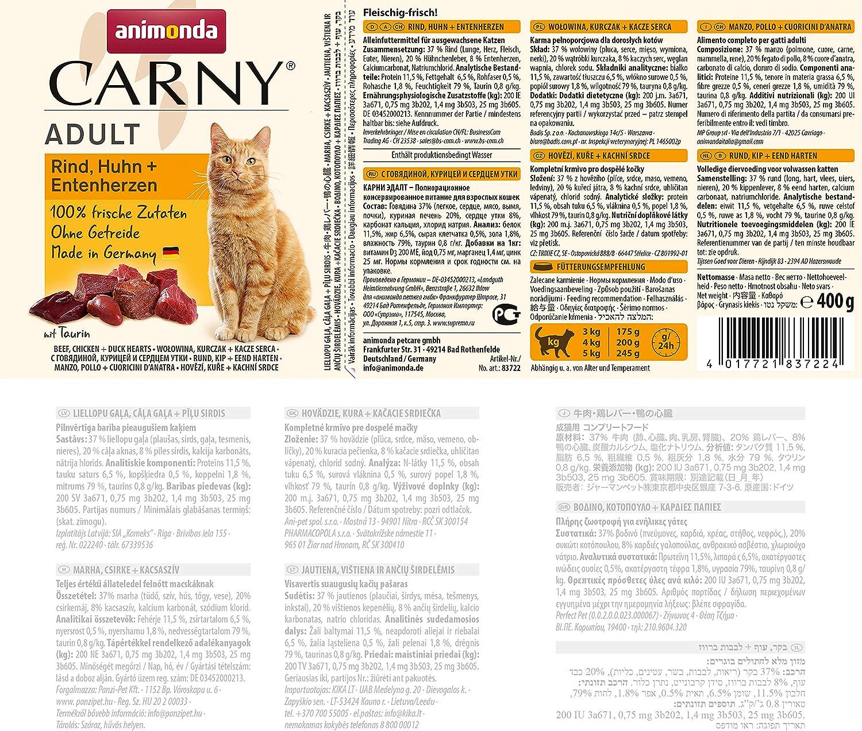 Comida para gatos animonda Carny Adult, comida húmeda para gatos adultos, vacuno, pollo + corazón de pato, 6 x 400 g