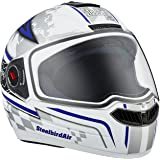 Steelbird Racer SBA-1 Helmet with Plain Visor (Matt White and Blue, L)