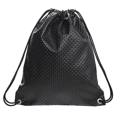Loomiloo - Mochila saco acolchada de piel sintética con reflejos dorados: Amazon.es: Ropa y accesorios