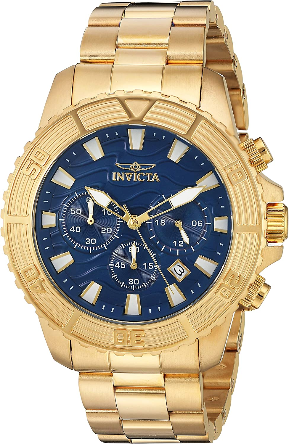 Invicta Men s Pro Diver Quartz Watch with Stainless-Steel Strap, Gold, 22 Model 24001