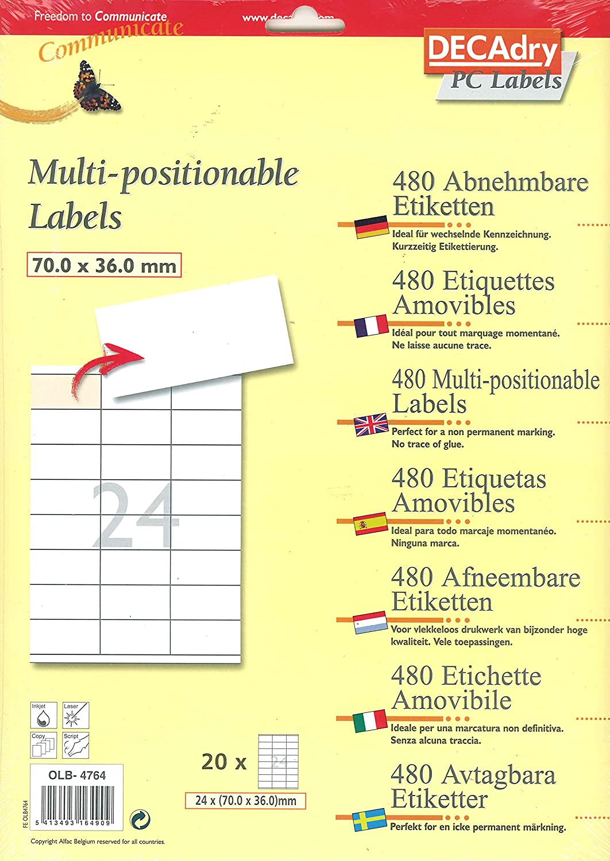 APLI Decadry tasca di 480/etichette multiuso 70/x 36/mm Bianco