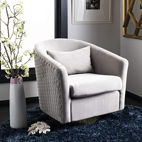 Safavieh Couture Home Clara Glam Pale Taupe Velvet Quilted Swivel Tub Chair