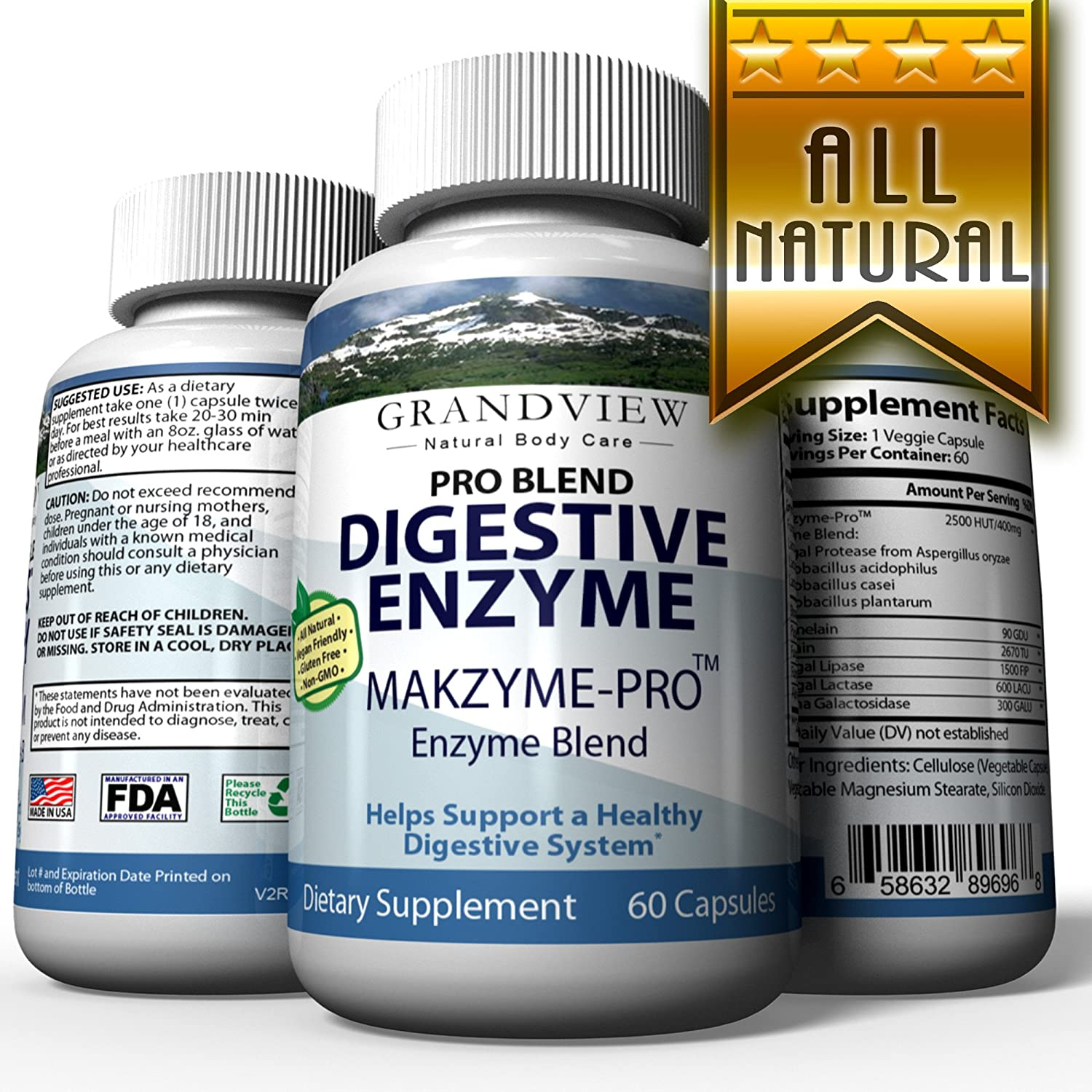 Amazon.com: Digestive Enzyme Pro Blend - All Natural Stomach Support for Better Digestion and Nutrient Absorption, Fights Bloating, Gas and Constipation for ...