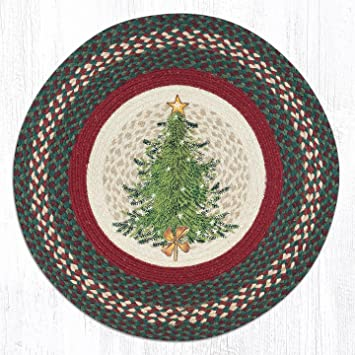 earth rugs jute area rugs rp 508 christmas tree round patch 27 x 27quot