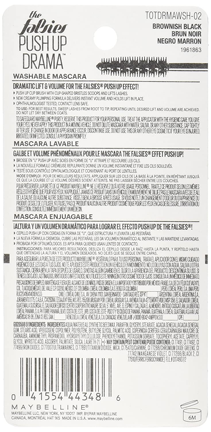 Amazon.com : Maybelline The Falsies Push Up Drama Washable Mascara, Brownish Black, 0.33 fl. oz. : Beauty