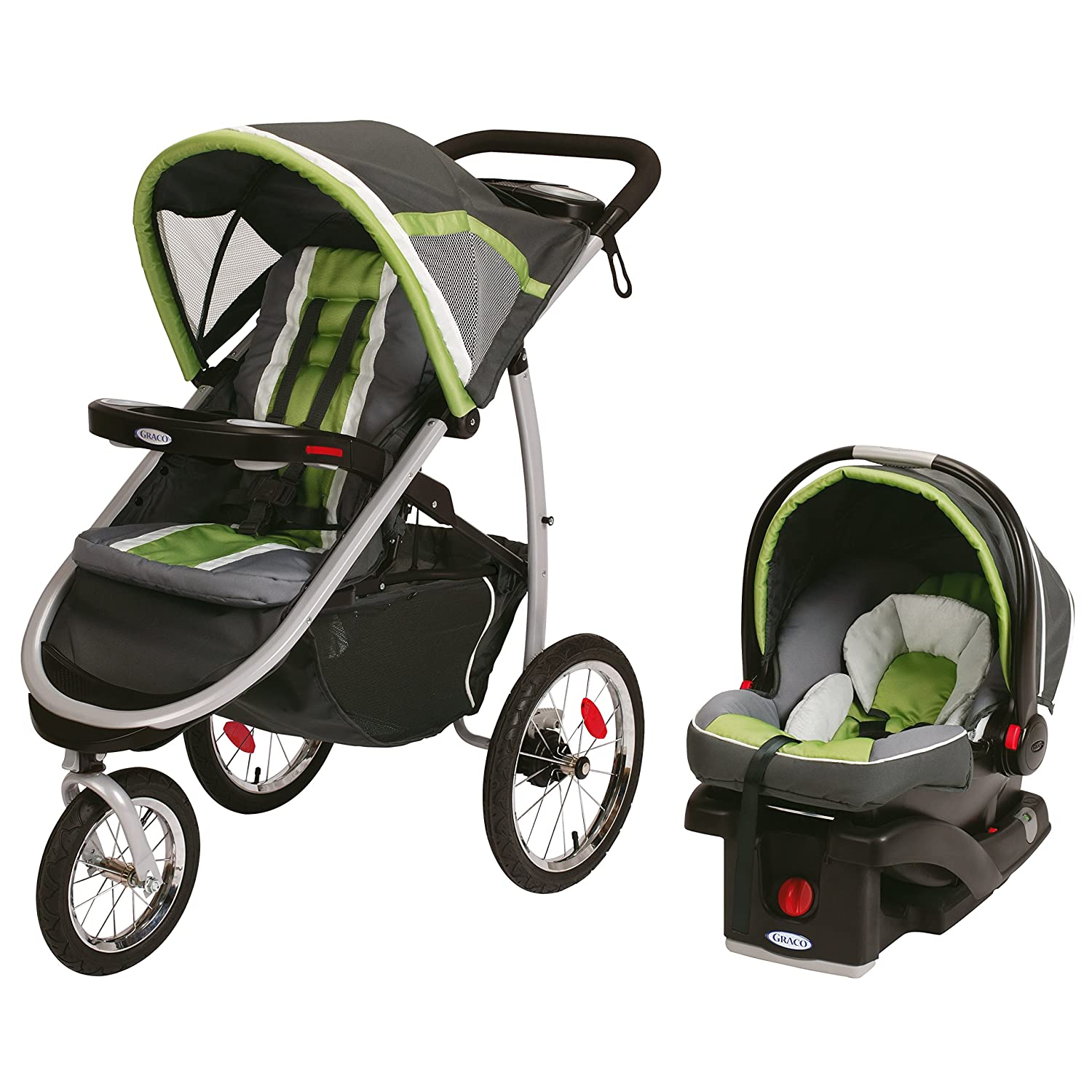 $399.99(was $569.99) Graco Fast Action Fold Click Connect Jogger Travel System with Snug Ride 35 Piazza, Grey and Green