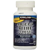 Kirkland Signature Mucus Relief Chest Guaifenesin 400 mg Expectorant - 200 Immediate...