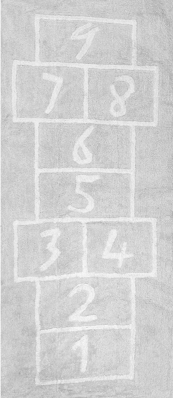 Aratextil Pata Coja Alfombra Infantil, Algodón, Gris, 90x200 cm Kiddys Place 016006