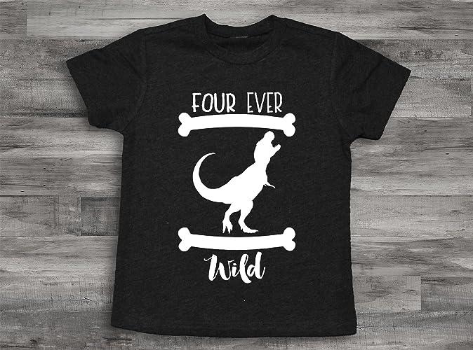 Dinosaur 4th Birthday Shirt Four Ever Wild Boy 4 Year Old