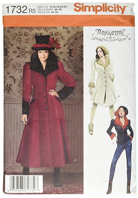 Steampunk Sewing Patterns- Dresses, Coats, Plus Sizes, Men's Patterns Simplicity 1732 Misses Costume Coat R5 (14-16-18-20-22) $1.23 AT vintagedancer.com