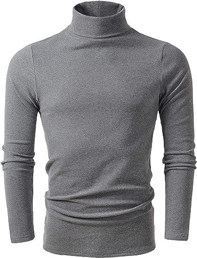 HieasyFit Men's Soft Cotton Turtleneck Tops Basic Layering Thermal Tee