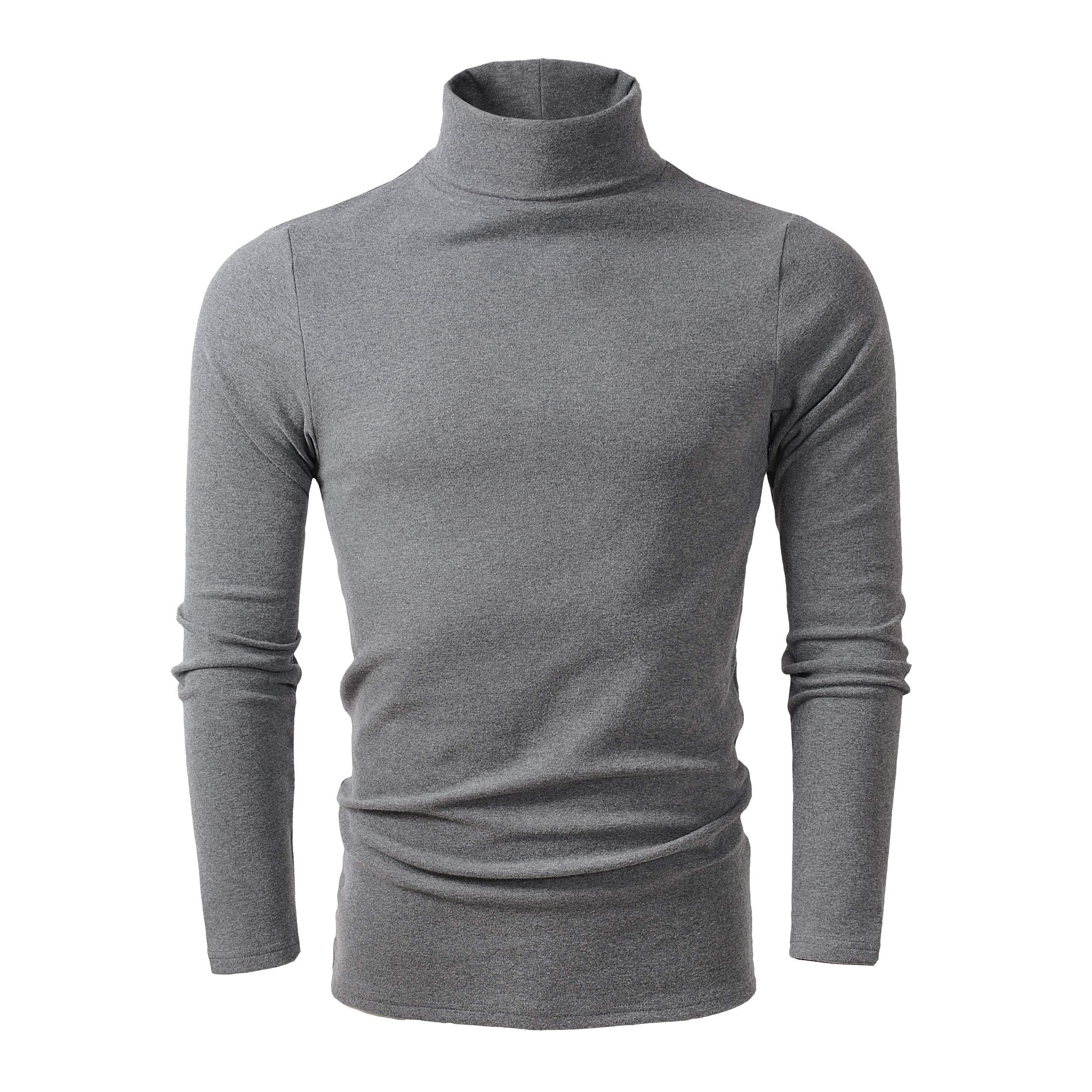 HieasyFit Men's Soft Cotton Turtleneck Tops Basic Layering Thermal Tee Dark Gray XL by HieasyFit