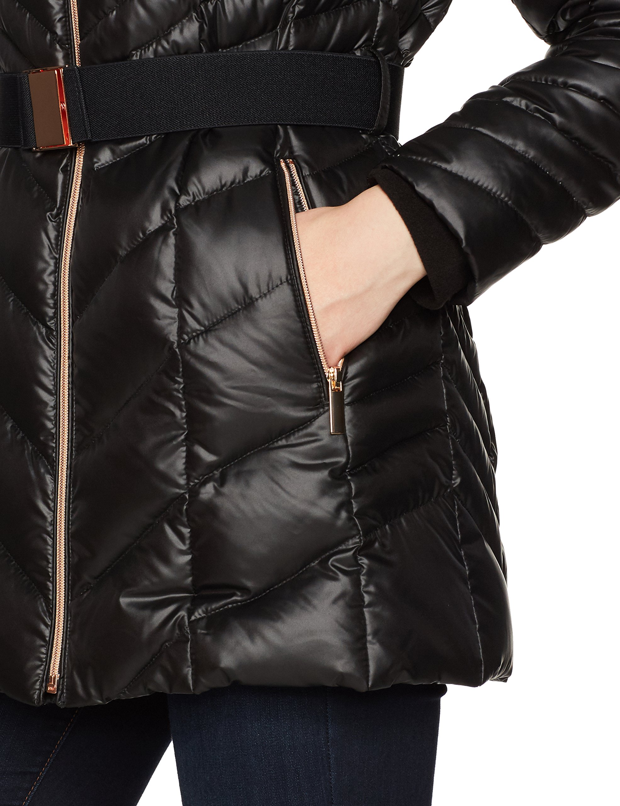 HAVEN OUTERWEAR Women's Bib Front Belted Down Jacket, Black, Large by HAVEN OUTERWEAR (Image #8)