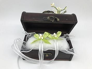 Cofre cojin boda anillos verde original 15x8x8 cm: Amazon.es ...