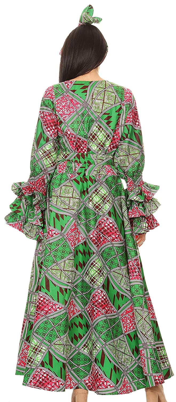 Vestito a Maniche Lunghe con Maniche Lunghe da Donna con Tasche e Stampa Ankara Africana Sakkas Tale