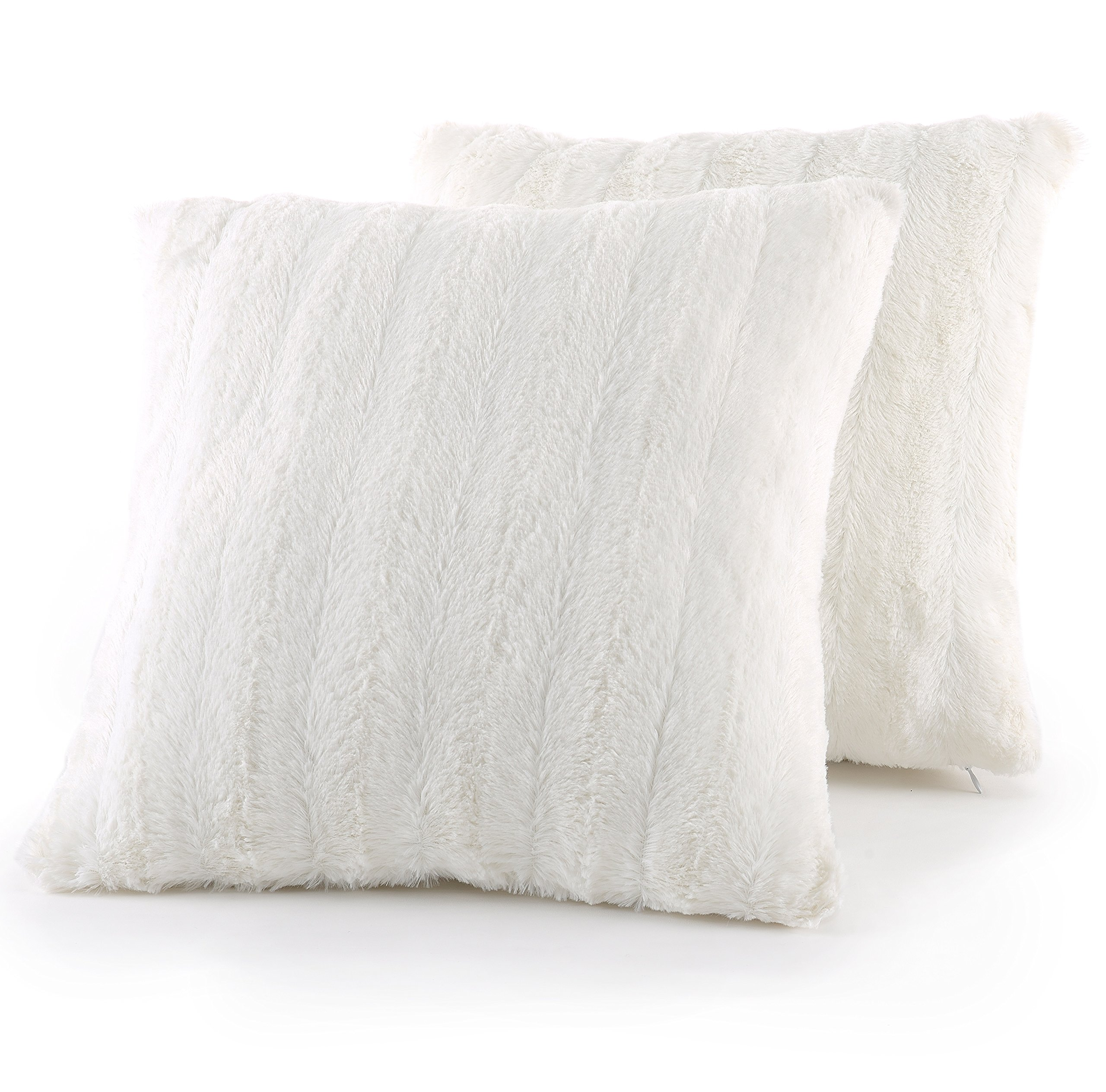 Cheer Collection Set of 2 Decorative Throw Pillows - Reversible Faux Fur to Microplush Accent Pillows by 18'' x 18'' - White