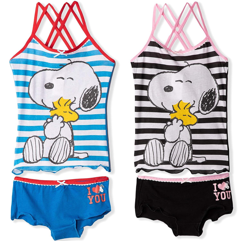 2 Gilet o Top Corto 2 Mutandine 6-14 Anni Peanuts Set di Biancheria Intima Ufficiale Snoopy Confezione da 4 Pezzi