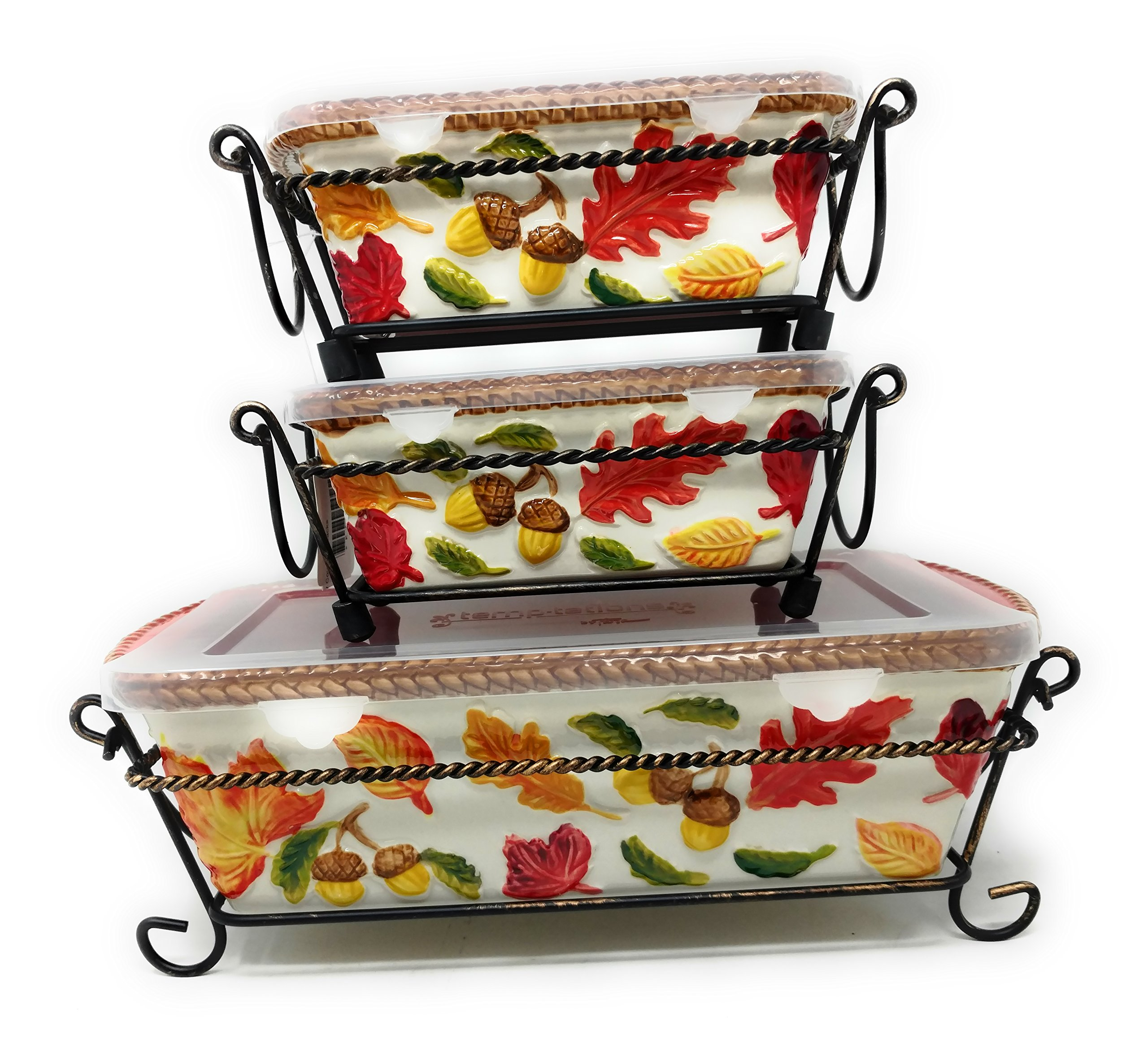 Temp-tations Set of 3 Loaf Pans w/ Plastic Covers & Wire Racks, Stoneware (Harvest)
