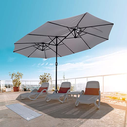 VOUNOT Sombrilla Parasol Rectangular, Sombrillas Jardin Grandes para Terraza Playa Piscina Mercado Patio Exterior, 460 x 270 cm, Protección Solar UV50+, Gris: Amazon.es: Jardín