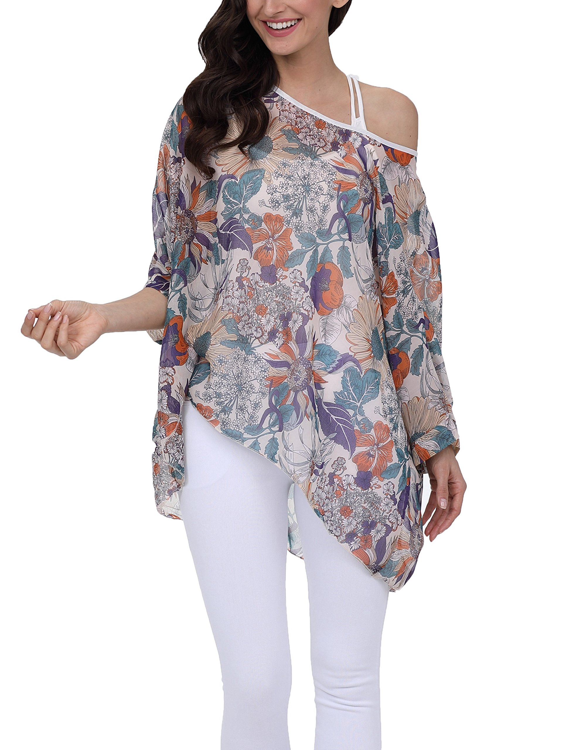 Vanbuy Women Summer Floral Printed Batwing Sleeve Top Chiffon Poncho Casual Loose Blouse Z91-4304