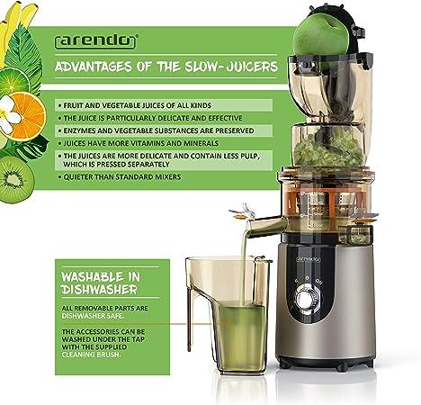 arendo - Licuadora para Fruta y verdura Slow Juicer - Capacidad ...