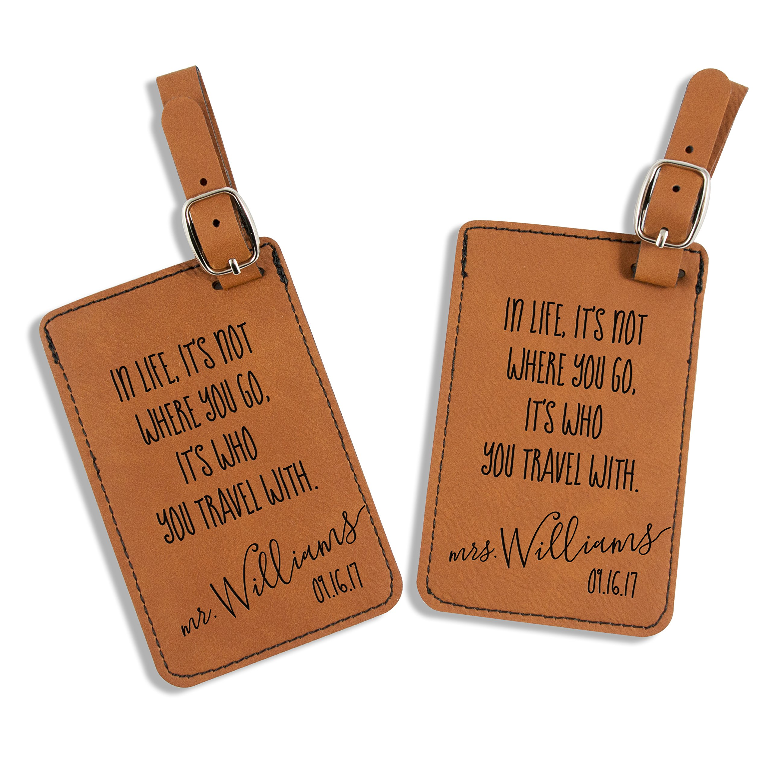 Mrs. MyLaurie Mr and Mrs Luggage Tags - Wedding Gift - Travel Quote Luggage Tags - Personalized - Honeymoon - His and Hers Luggage Tags - Bag Tags (Rawhide Brown)