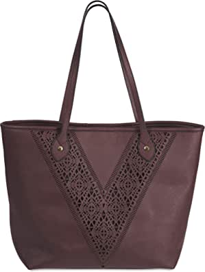 Pavilion-H2Z Laser Cut Handbags - Jessica Wine Red Over The Shoulder Large Tote Purse