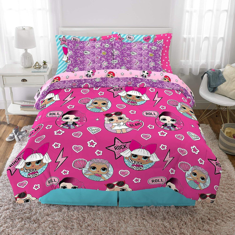 Franco Kids Bedding Super Soft Comforter and Sheet Set with Bonus Sham, 7 Piece Full Size, LOL Surprise