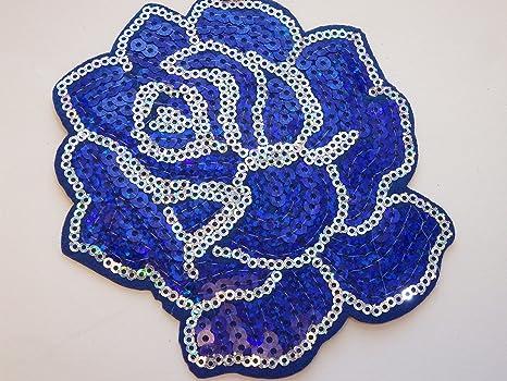 Grande con lustrini fiore blu rose patch applique iron on sew on