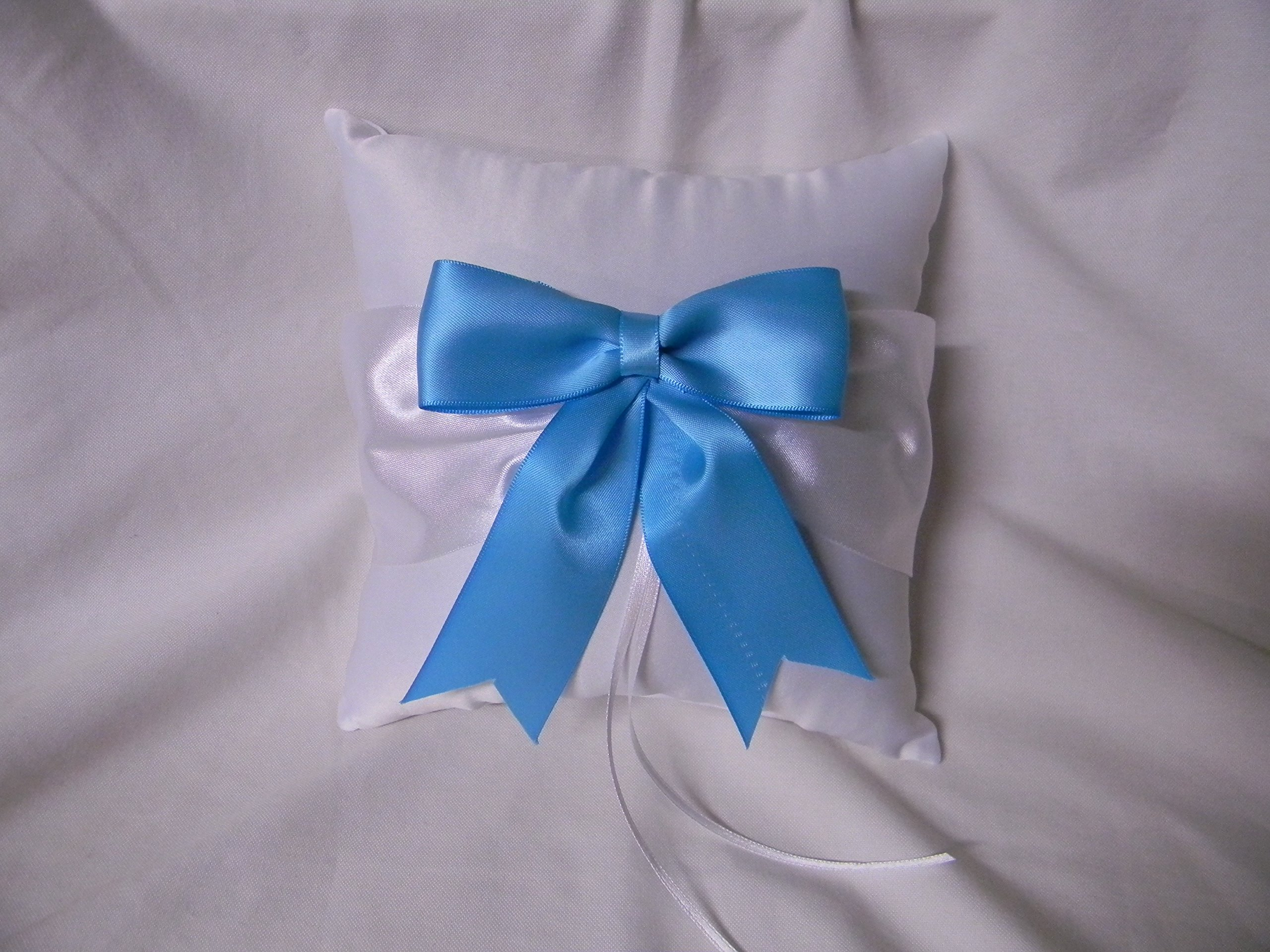 Wedding Party Ceremony Turquoise Big Bow and Ribbons Ring Bearer Pillow