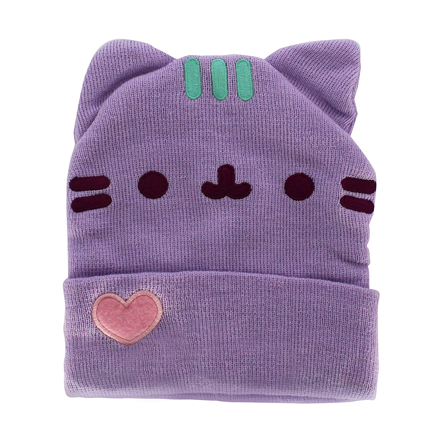 Pusheen Cuffed Beanie With Ears - Purple Pastel With Heart IML PUB141AAOL-ONE