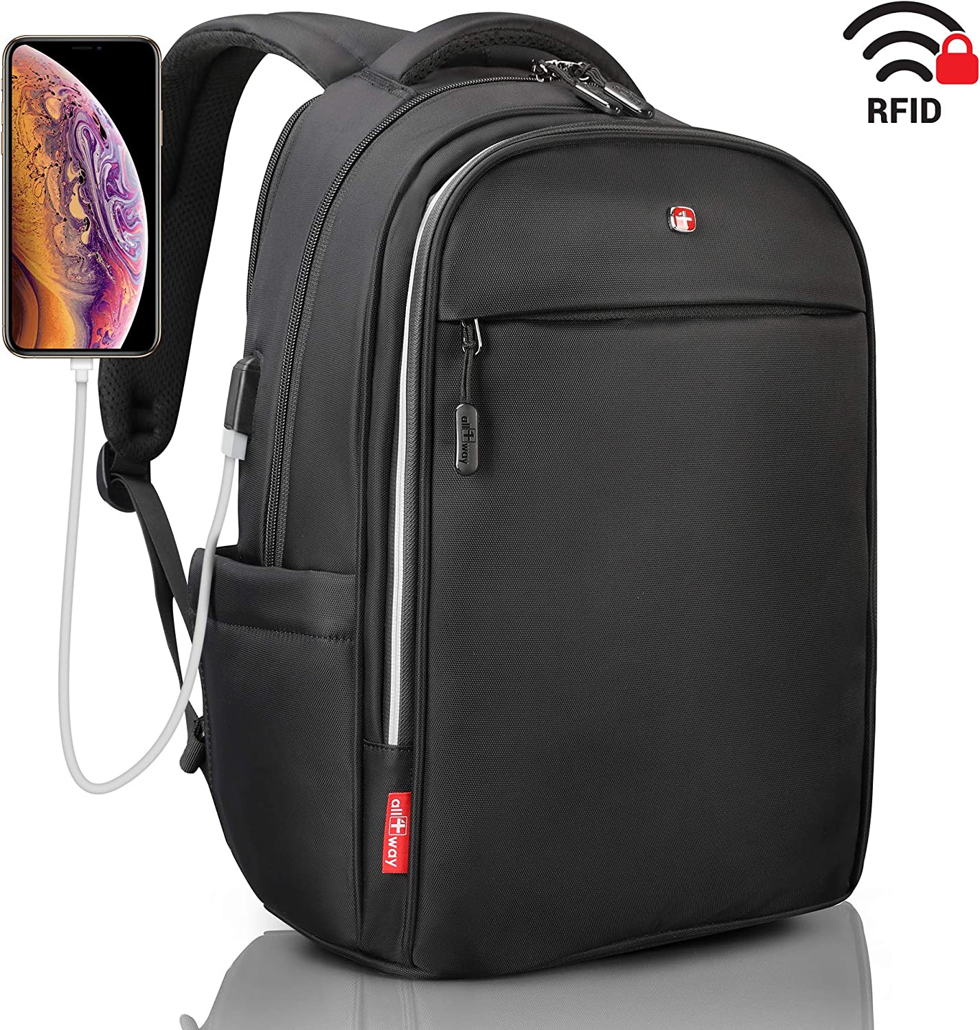 Laptop Backpack Anti Theft RFID – SWISS Design USB Charging Port – Business College Travel School Backpack – Backpack for Men Women 15 Black Waterproof with Rain Cover