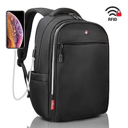 b279ceb474 Laptop Backpack Black RFID Blocking - Travel Backpack USB Quick Charge -  Swiss Design 15