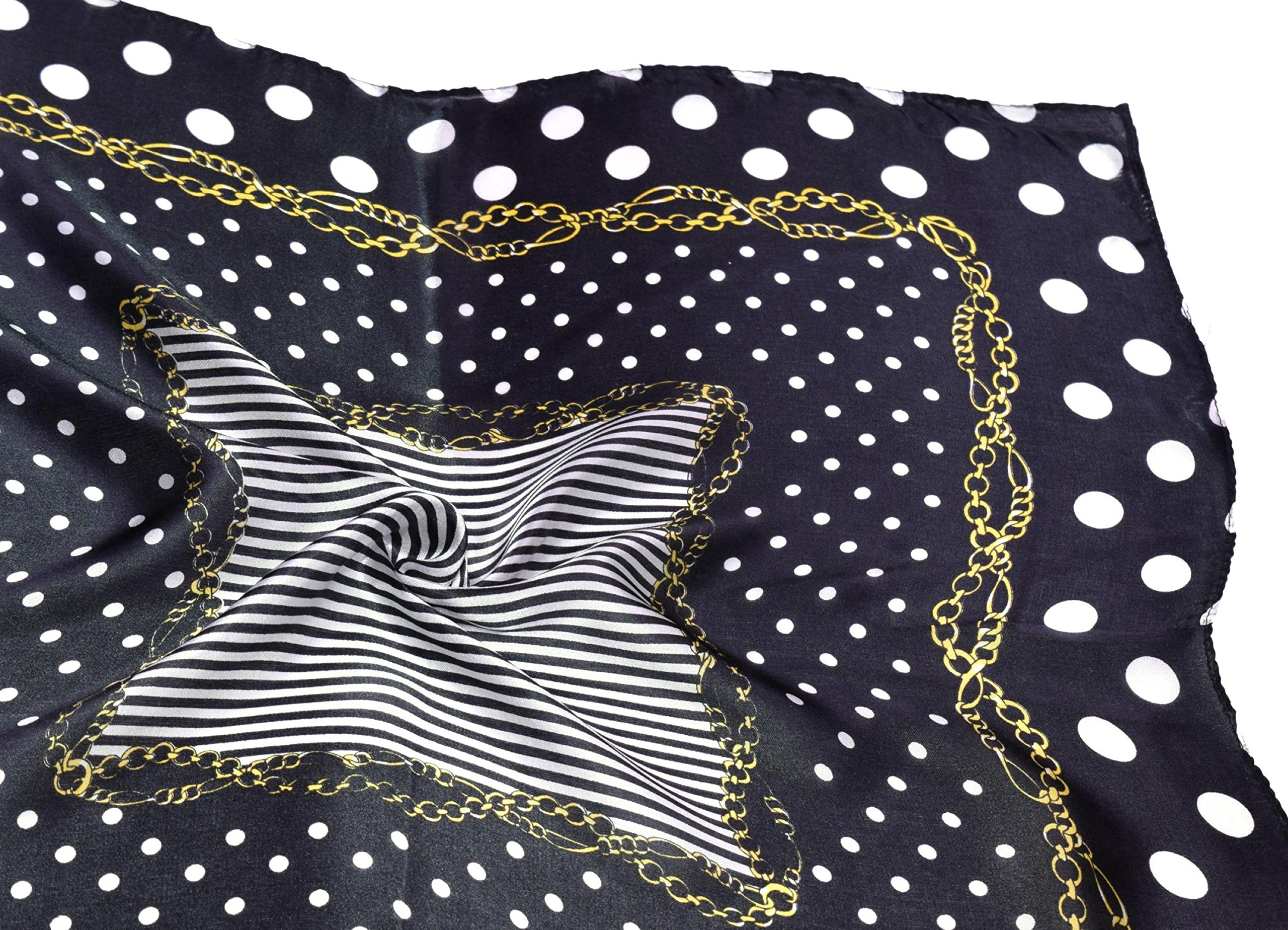 Black White Gold Spotted Printed Fine Small Square Silk Scarf by Bees Knees Fashion (Image #6)