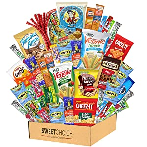 Care Package (40 Count) Snacks Food Cookies Bars Chips Candy Variety fathers day Gift Box Pack Assortment Basket Bundle Mix Bulk Sampler Treat College Students Final Exam Office,Fathers Day