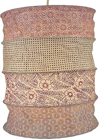 Guru-Shop Lámpara Redonda Para Colgar Papel, Pantalla de Papel Lokta Kailash, Papel Hecho a Mano - Rosa/pastel, PapelLokta, 35x28x28 cm, Lámparas de ...