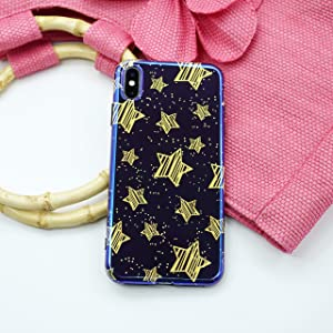 CaserBay iPhone Case Trendy Aurora Gradient Blue Light Glossy Look Reflective Flexible TPU Soft Phone Case Star-Black for 6.1inch iPhone XR