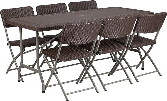 Amazon Com Flash Furniture 32 5 W X 67 5 L Brown Rattan Plastic