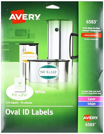 amazon com avery white oval labels white permanent pack of 270
