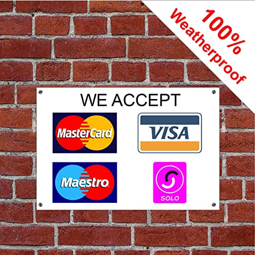 We Accept MasterCard Visa Maestro - Cartel de débito de crédito y ...