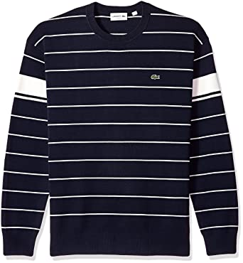 5ca0f8813352 Lacoste Men s Long Sleeve Heritage France Milano Crew Neck Sweater ...