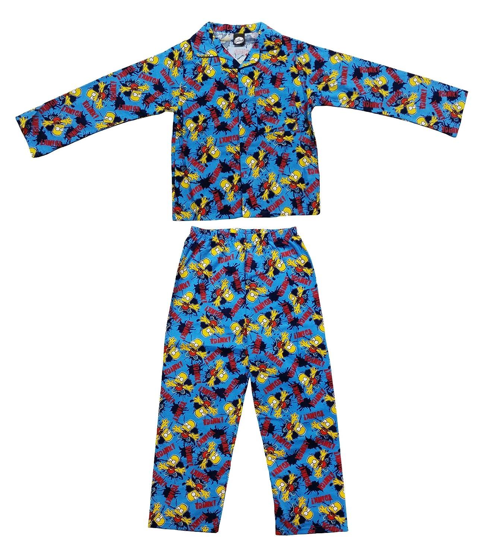 Boys Kids Bart Simpson Wyncette Cotton Long Pyjamas Sleepwear Nightwear